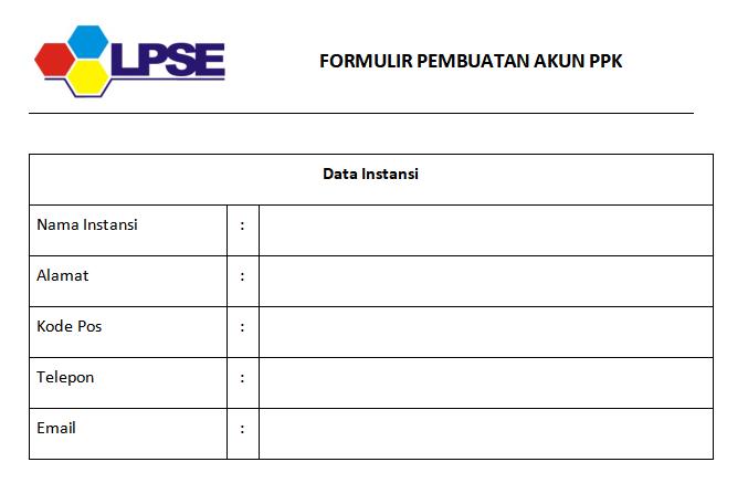 Formulir Pendaftaran Pejabat Pembuat Komitmen